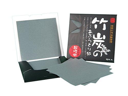 Papel absorbente de aceite facial, oil control blotting paper - Carbón de Bambú, 8.3cm x 8.3cm, 50 hojas (1X pack
