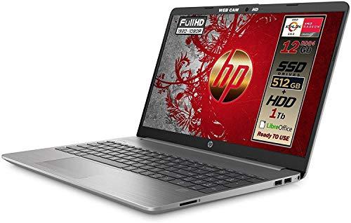 "HP 255 G8 Silver Notebook Portatile, SSD M2 512GB + 1TB, Display FullHD 15.6"", Amd A9 Gold 3150U fino a 3,3 GHz, 12GB DDR4, Libre Office, Wi-fi, 3 usb, webcam HD, Win10 Pro, Pronto All'uso, Gar. ITA"