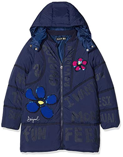 Desigual Coat Cerezas Abrigo, Azul (Navy 5000), 152 cm para Niñas