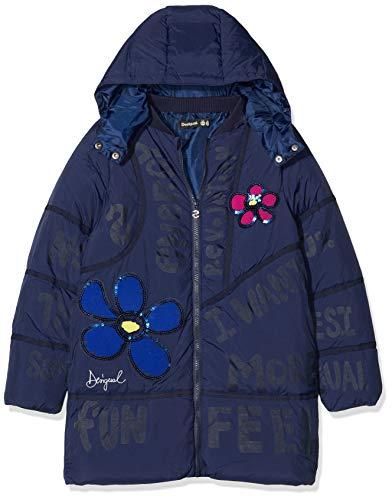 Desigual Mädchen Coat CEREZAS Mantel, Blau (Navy 5000), 128 (Herstellergröße: 7/8)