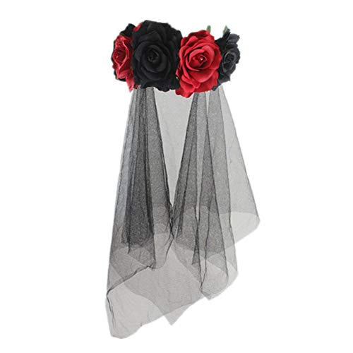 Lurrose Rose Floral Crown Schleier Halloween-Kostüm mexikanischen Stirnband Day of the Dead Headpiece für Festival Carnival Party (rot und schwarz Muster)