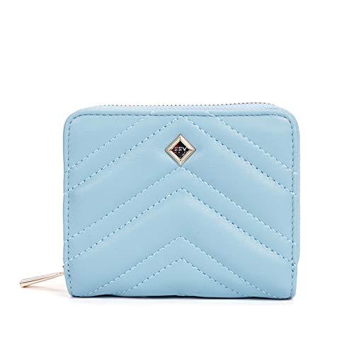 Katech Monedero para mujer de piel sintética, formato corto, para mujer, suave, con bolsillo en colores muy bonitos, azul (Azul) - KATECHXNO00738