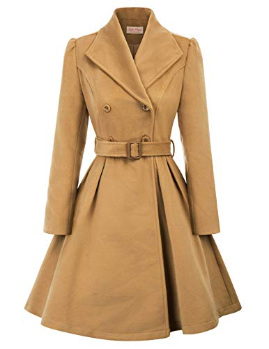 Belle Poque Women's Winter Wool Trench Coats Warm Double Breasted Jackets, Khaki, Small