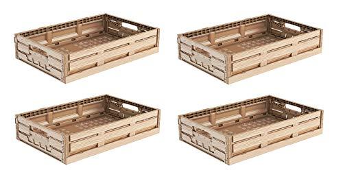 4x Faltbox im Holzdesign 60x40x11 * Klappbox für Obst, Gemüse * Obstkiste Gemüsekiste Holz Optik