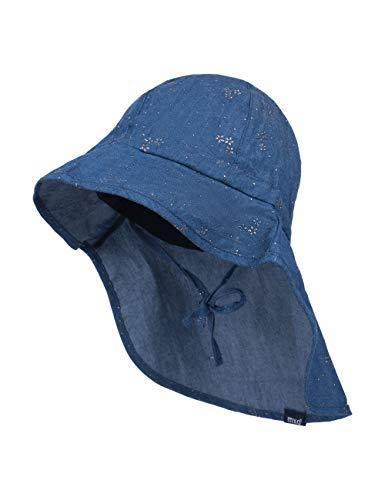 maximo Baby-Mädchen Nackenschutz Mütze, Blau (Jeans-silberblume 63), (Herstellergröße: 49)