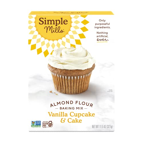 Simple Mills Almond Flour Baking Mix, Gluten Free Vanilla Cake Mix, Muffin pan ready, Made with whole foods, (Packaging May Vary)
