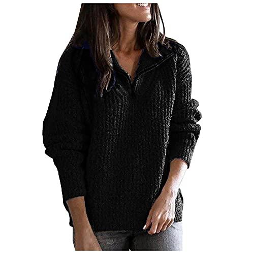 Shopler Quarter Zip Jumper Stand Collar de manga larga Sudadera de punto liso suéter de punto holgado Casual Slim Tops, Negro, S