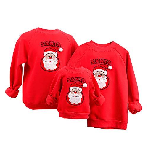 Sudadera Navideña Familia Jersey Suéter Navideño Sudaderas Navideñas Familiares Sudadera Navidad Hombre Mujer Niña Niño Jerséis Jerseys Navideños Pullover Cuello Redondo Ancha Larga Invierno Rojo M