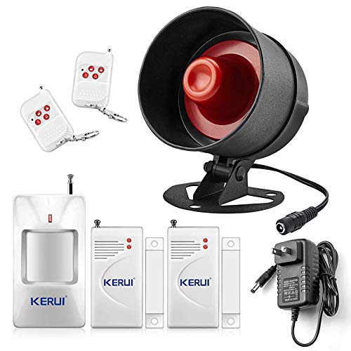 KERUI Upgraded Home Security System Indoor Outdoor Weather-Proof Siren Window Door Sensors Motion Sensor Alarm with Remote Control more DIY, Wireless House Hotel Garage Shop Burglar Door Alarm System