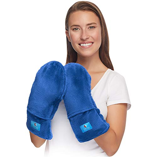 Microwavable Therapy Mittens with Flaxseed – Moist Heat Therapy Relief for Hands and Fingers in Cases of Stiff Joints, Trigger Finger, Inflammation, Raynaud's, Carpal Tunnel – Natural Unscented Gloves