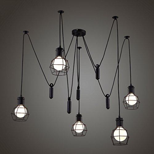 Lustre de salon simple Luminaires américains créatifs petites cages rétro lustres industriels