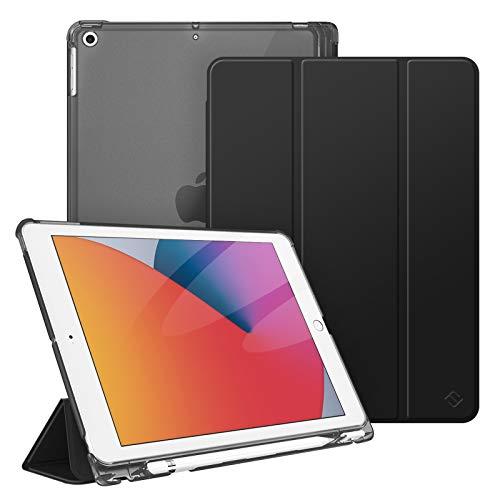 Fintie Hülle für iPad 9. Generation 2021 / 8. Gen 2020 / 7. Gen 2019 10.2 Zoll mit Stifthalter, Superdünn Leichte Schutzhülle mit durchsichtiger Rückseite Abdeckung mit Auto Schlaf/Weck, Schwarz