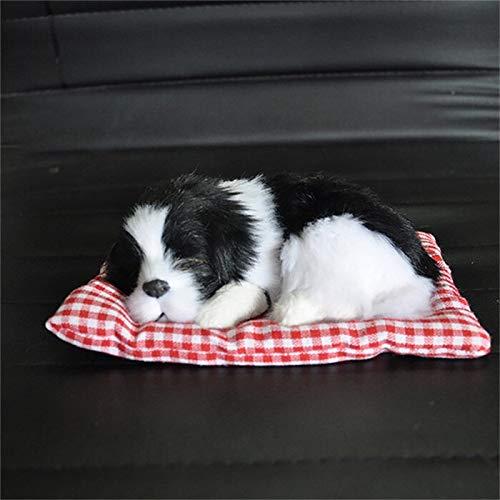 Autodekoration Auto Ornament ABS Plüsch Hunde Dekoration Simulation Schlafender Hund Spielzeug Automobil-Armaturenbrett-Dekor-Ornamente Nettes Auto-Zubehör Innendekoration ( Color Name : Black White )