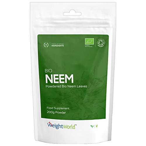 POUDRE DE NEEM BIO - Poudre bio de feuille de Margousier, Poudre pour le Système Immunitaire, Poudre Indienne Naturelle, Poudre Vegan de feuille de neem, Poudre Ayurvédique d'Azadirachta Indica - 200g