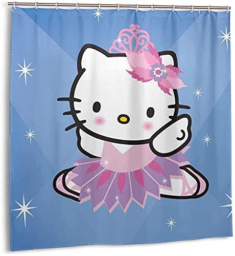 Hello-Kitty Lichter-Duschvorhang Badezimmer Dekor Exquisite Schimmelresistent Wasserdicht Extra Lang Badvorhang mit 12 Kunststoffhaken
