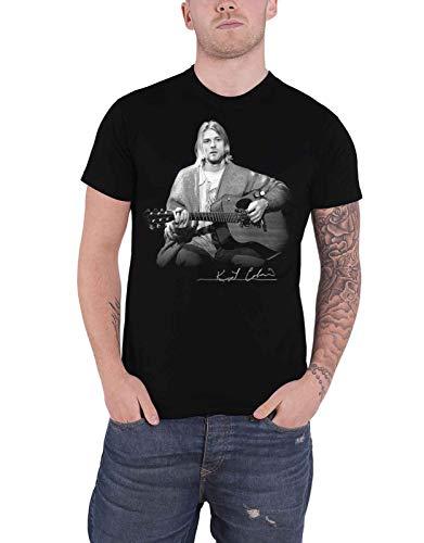 Kurt Cobain T Shirt Guitar Umpugged Live Photo Signature offiziell Herren