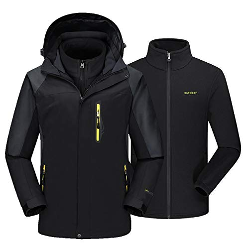 EKLENTSON Heren Winter Outdoor 3-in-1 Ski Jas Waterbestendig Snowboard Fleece Wandeljas met Afneembare Hood