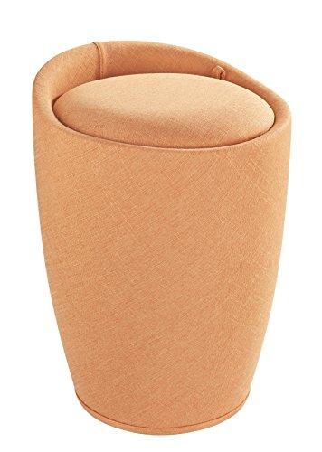 Wenko 22837100 Hocker Candy Orange Leinenoptik - Wohnhocker, Badhocker, Wäschesammler mit abnehmbarem Wäschesack, ABS, 36 x 50.5 x 36 cm