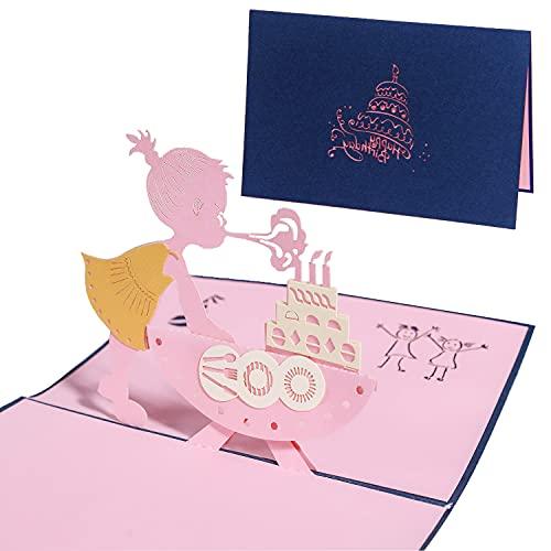 HENGBIRD Biglietto pop-up tridimensionale pop-up, biglietto di compleanno per figlia /...