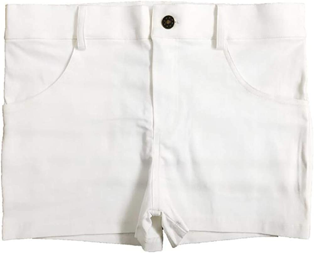 New Men's Fashion Flat feet Denim Shorts Hair Stylist Bare Legs Tight Four feet Pants (White, EXL)