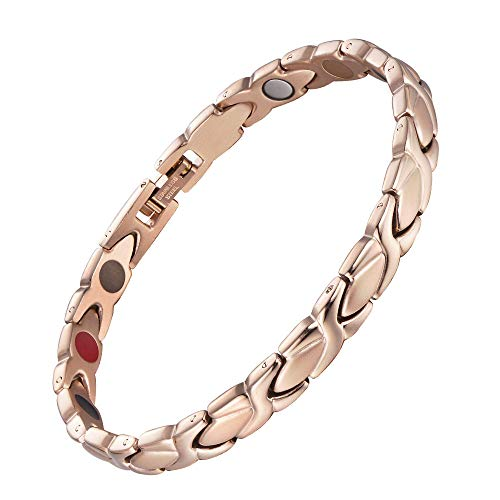 38 Elegant Titanium Magnetic Bracelet for Women Germanium and Magnetic Functions with Free Link Removal Tool