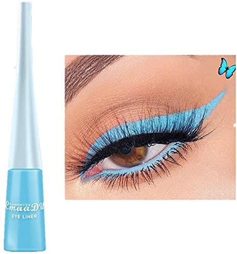 Liquid Eyeliner Matte Schnell trocknender Eyeliner, dauerhafter nicht blühender wasserdichter gelfarbener Eyeliner, Elf Candy Color Liquid Hochpigmentierter Eyeliner (Blau)