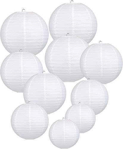 LIHAO weiße Papier Laterne Lampions rund Lampenschirm Hochtzeit Dekoration Papierlaterne - (Verschiedene Größen)(10er Packung)…