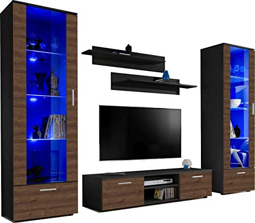 ExtremeFurniture Twins Wohnwand, Karkasse in Schwarz Matt/Front in Braun Eiche mit LED in RGB