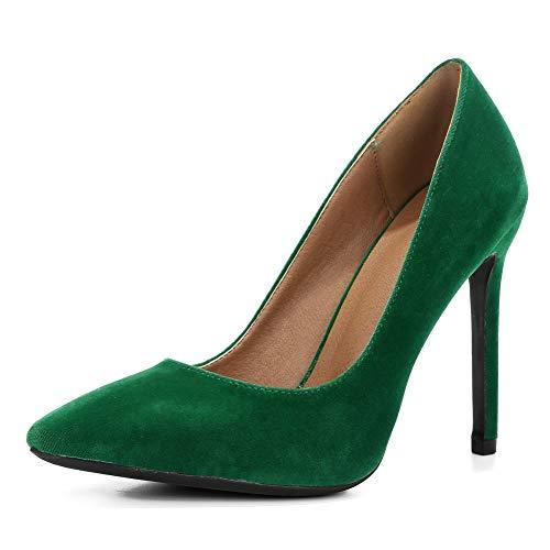fereshte Women's Pointy-Toe Stiletto High Heels Dress Pumps Velvet Green Label Size 40 - US 8.5