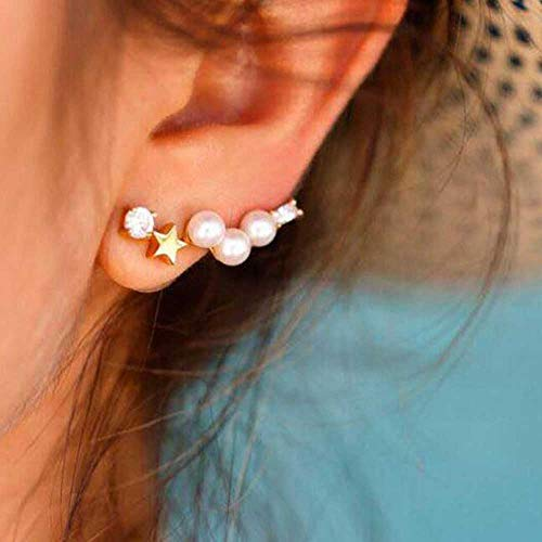 Jovono - Juego de pendientes con cuentas de diamantes de imitación y estrella para mujeres y niñas