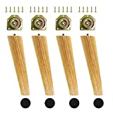 Uni-Fine Shop 4 Stück Holz Möbelfüße 20cm Möbelbeine Holz Schräg Höhenverstellbar Tischbeine aus Eiche Massivholz Konisch Sofafüsse Holz mit Filzgleiter für Stühle, Schranken, Sofa, Schreibtisch