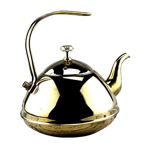 Leobtain Tetera inducción Teteras de té, Tetera Tetera silbido Tetal de té con Mango Tetera de Acero Inoxidable para Estufas Camping Senderismo Picnic Hervidor de Agua al Aire Libre teteras para te