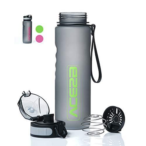 ace2b Trinkflasche 600ml Sport & Fitness mit Shaker Ball für Eiweiß Protein Shakes + Sieb I Sportflasche für Fitnessstudio Fahrrad Outdoor I Tritan BPA frei, auslaufsicher