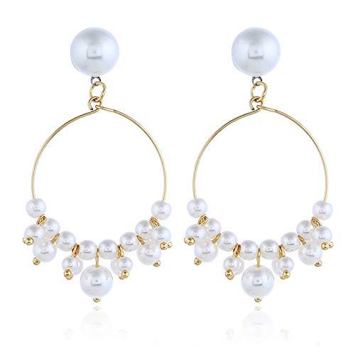 Simple hecho a mano perla pequeño anillo oído clavo delicado pequeño anillo geométrico pendientes pendientes, perla, Taille unique