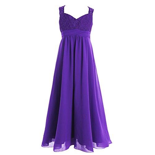 TiaoBug Mädchen Prinzessin Kleid Hochzeits Festzug Kleid Blumenmaedchenkleid Partykleid Festlich Kleidung Gr. 104-164 Lila 152