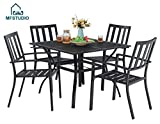 "MF STUDIO 5 Piece Black Metal Outdoor Patio Dining Bistro Set with 4 Armrest Chairs and Steel Frame Slat Larger Square Table, 37"" Table and 4 Backyard Garden Chairs Outdoor Furniture Set, Black"