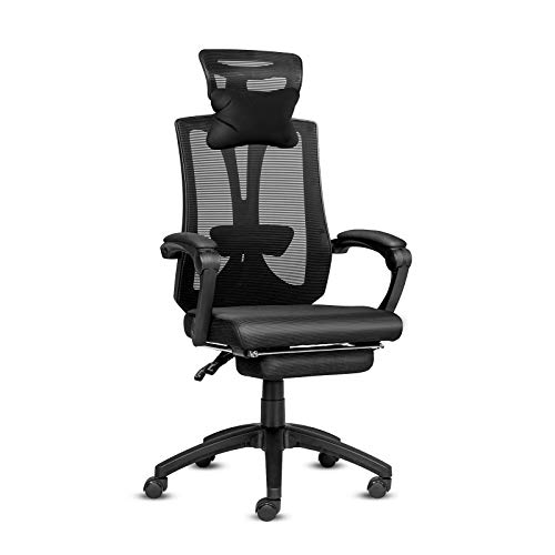 ELECWISH Ergonomic Office Recliner Chair, Mesh Computer Desk Chair High Back Racing Style with Lumbar Support, Adjustable Headrest Lumbar Footrest Support, Soft Foam Seat with Footrest (Black)