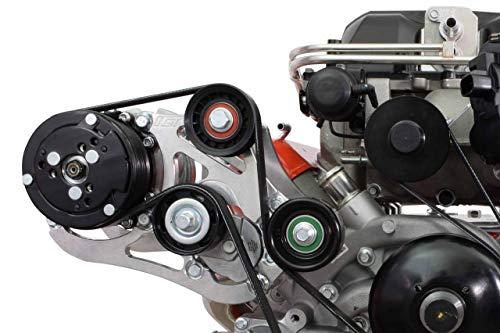 ICT Billet LSA Supercharger High Mount A/C Sanden 508 709 Compressor Bracket Kit CTS-V ZL1 6-Rib Heavy Duty Billet Aluminum Universal Air Conditioner Truck Spacing LS3 LM7 LS 551135-3-508