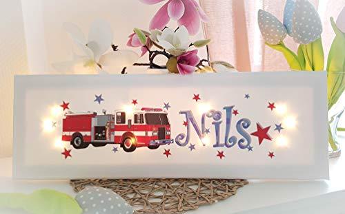 Leuchtbild mit Name - Wandlampe - Schlummerlampe Kinderzimmer personalisiert (Rot, Blau, Feuerwehr)