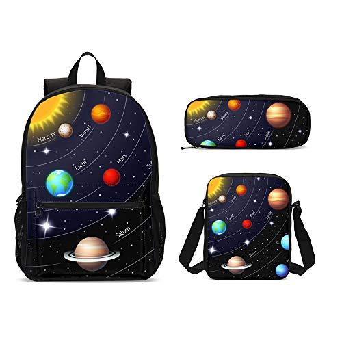 Delerain Colorful Solar System 3 PCs Backpack Set for Kids Back to School Bookbag with Shouder Bag...