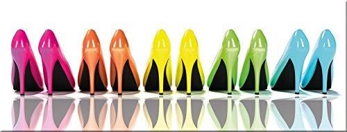 artissimo, Glasbild, 80x30cm, AG1900A, High Heels, Bunte Schuhe, Bild aus Glas, Moderne Wanddekoration aus Glas, Wandbild Wohnzimmer modern
