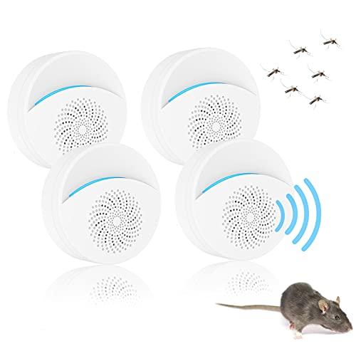 SUFUS Repelente Ultrasónico de Plagas, 2021 Ahuyentador de Ratones Ultrasonidos, Repelente Ultrasónico Mosquitos - Anti Cucarachas, Moscas, Mosquitos, Ratones, Arañas [4 Pack]