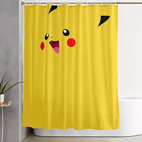 LIUYAN Duschvorhang mit Haken – niedliches Pikachu wasserdichtes Polyester-Gewebe Badezimmer-Dekoration 152,4 x 182,9 cm