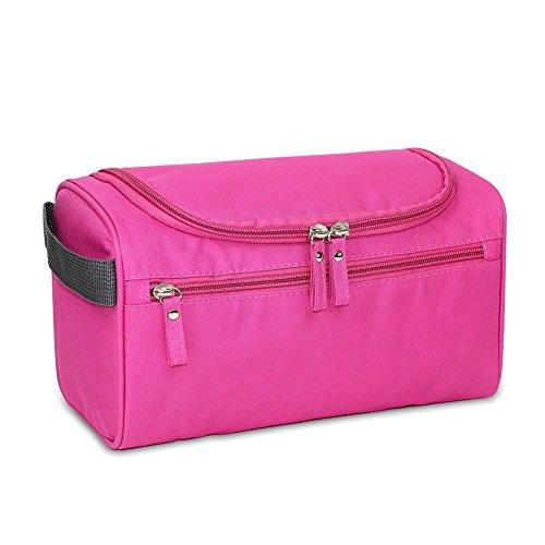 Qearly Compartiments Multiples Trousse de toilette, Wash Bag, sac de toilette, cosmétique sac de maquillage-Rose