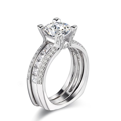 Newshe Jewellery Wedding Band Engagement Ring Set Women Round White Cz 925 Sterling Silver Size 7