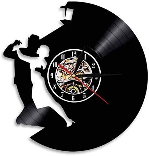 1 Stuk Paar Dansen Verlichting Moderne Sport Vinyl Wandklok Woonkamer Decor Afstandsbediening