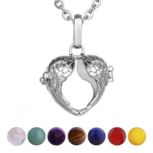 Morella Mujeres Collar 70 cm Acero Inoxidable con Colgante corazón alas del ángel y 7 Piedras Preciosas Gema Bolas de Chakra en Bolsa Der joyería