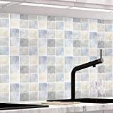 KINLO Pegatinas para Azulejos de Pared Trasera de Cocina 61 x 500cm Azulejos de Mosaico Adhesivo para Azulejos de Aluminio para Cocina y Baño - PVC Deco Tile Foil para Azulejos Decoración Type-M
