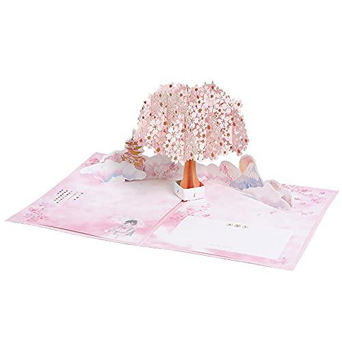 2 Stücke 3D Pop-Up Birthday Card Folding Rosa Kirsche Bronzing Diy Geschenkmitteilung Segenkarte Für Erntedankfest Kindertag Muttertag Grußkarten Danke Karte
