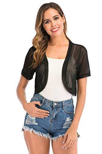 Enjoyoself Damen Kurzarm Bolero Transparent Kurz Mesh Cardigan Leichte Luftige Sommerjacke für Ärmelloses Kleid,Schwarz,XL